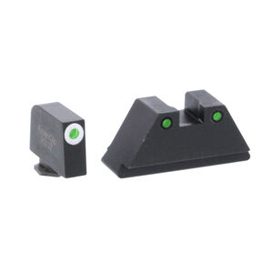 Ameriglo Tall Suppressor Sight Set fits Most GLOCK Models GL-152 Green Tritium Front Dot with White Outline and Green Tritium with Black Outline Rear Dot