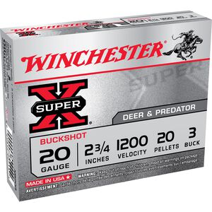 Winchester Super X Buck 20 Gauge 2.75 #3 Buck Five Rounds