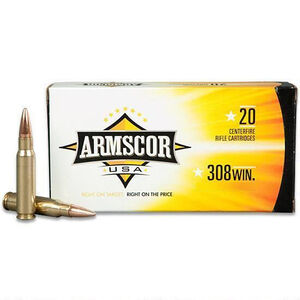 Armscor USA .308 Winchester Ammunition 20 Rounds 168 Grain Hollow Point Boat Tail