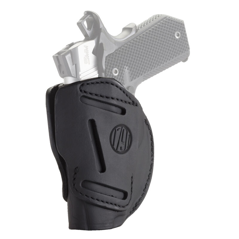 """1791 Gunleather 3WH 3 Way Multi-Fit OWB Concealment Holster fot 3""""/4"""" 1911 Models Ambidextrous Draw Leather Stealth Black"""