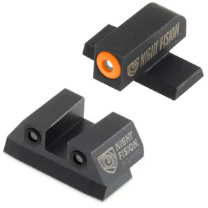 Night Fision Perfect Dot Tritium Night Sight Set SIG Sauer P-Series Pistols with #6 Front/#8 Rear Green Tritium Front/Rear Orange Front Ring Square Notch Rear with No Ring Metal Body Black Nitride Finish