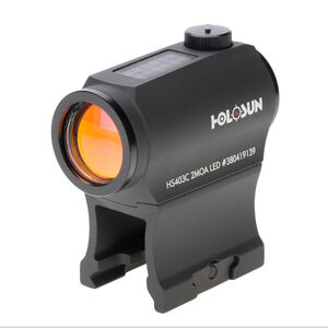 Holosun HS403C Micro Red Dot Sight 1x Magnification 2 MOA Dot Weaver Style Low/Lower 1/3 Co-Witness Mount Solar/CR2032 Battery Matte Black Finish