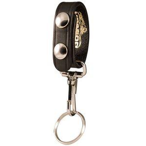 Boston Leather 5435 Belt Keeper with Key Ring Nickel Snaps Plain Finish Leather Black 5435-1