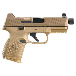"FNH FN-509 Compact Tactical 9mm Luger Semi Auto Pistol 4.32"" Threaded Barrel 24 Rounds Ambidextrous Controls Polymer Frame Flat Dark Earth"