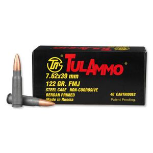 TulAmmo 7.62x39mm Ammunition 122 Grain Zinc FMJ Steel Cased 2396fps