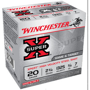 Winchester, Super X 20 Gauge Ammunition 100 Rounds, 3/4 Ounce, #7 Steel, 2.75""
