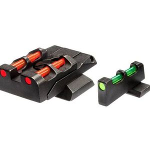 HiViz Adjustable Sight Set S&W M&P Full Size Contrasting Fiber Optic Sight Set Red/Green/White Steel Black SWMPE21