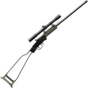 "Chiappa Little Badger .22 LR Break Action Single Shot Rimfire Rifle 16.5"" Threaded Barrel 1 Round with 4x20 Scope Steel Wire Stock Black/OD Green"