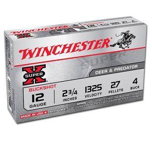 """Winchester Super-X 12 Gauge 2.75"""" #4 Buck 5 Round Box"""