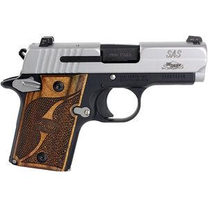 "SIG Sauer P938 SAS Micro-Compact 9mm Luger Semi Auto Pistol 3"" Barrel 7 Rounds SIGLITE Night Sites Wood Grips Two Tone Nitron/Black Finish"