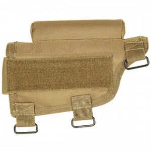 Voodoo Tactical Adjustable Cheek Rest With Detachable Ammo Carrier For Rifle Buttstock Ambidextrous Design Tactical Nylon Coyote Tan