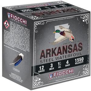 "Fiocchi Arkansas Steel Waterfowl 12 Gauge Ammunition 3"" #4 1-1/5oz Steel Shot 1550 fps"