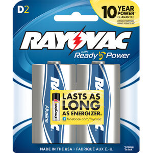 Rayovac D-Cell Alkaline Batteries 2-Pack