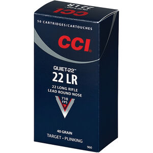 CCI Quiet-22 .22LR Ammunition 40 Grain Lead Round Nose 710 fps