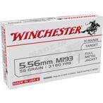 Winchester USA 5.56 NATO Ammunition 20 Rounds FMJ 55 Grains WM193