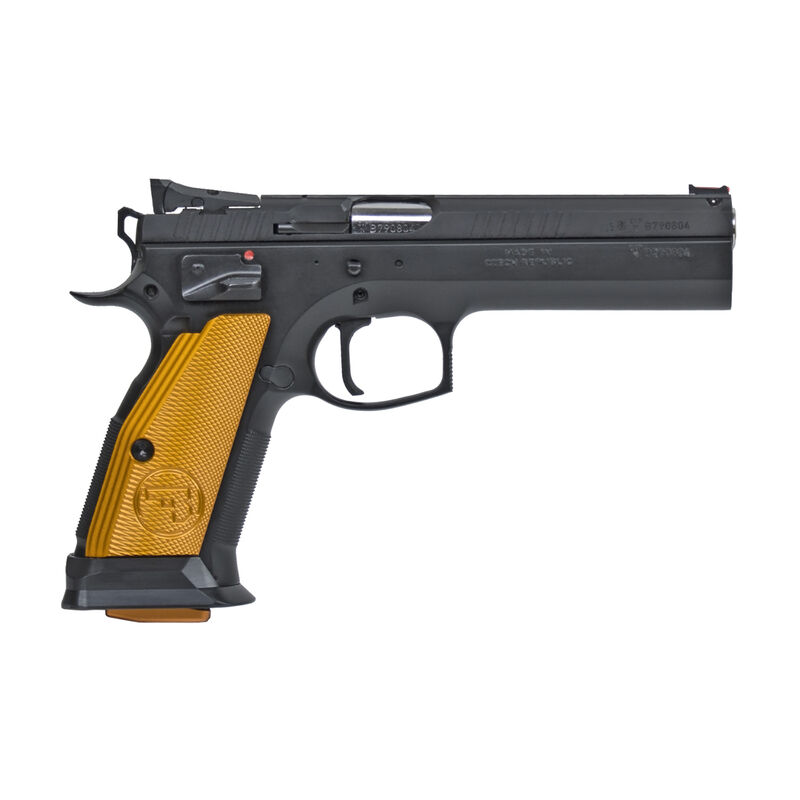 "CZ 75 Tactical Sport Orange .40 S&W Semi Auto Pistol 5.23"" Barrel 16 Rounds Steel Frame Aluminum Orange Grips Matte Black"