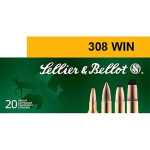 Sellier & Bellot .308 Winchester Ammunition 20 Rounds 180 Grain Full Metal Jacket 2,411fps