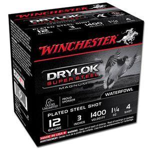 "Winchester Drylok Super Steel 12 Gauge #4 Plated Steel Shot, 3"", 1-1/4 Ounce, 1375 fps, 250 Round Case"