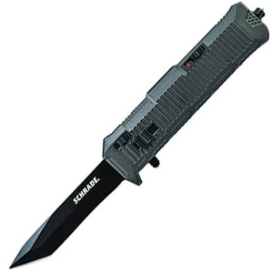 "Schrade Viper Out The Front Assisted Opening 3.35"" Serrated Double Edged Tanto AUS-8 Blade with Aluminum Handle Black"