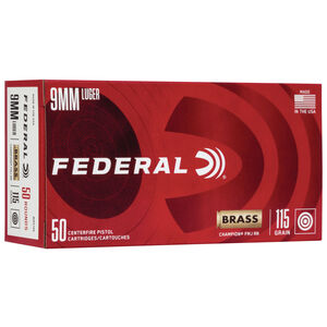 Federal Champion 9mm Luger Ammunition 115 Grain FMJ 1180fps 50 Rounds