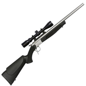 """CVA Scout Outfit Single Shot Break Action Rifle .44 Magnum 22"""" Fluted Stainless Steel Barrel Konus 3-9x32 Scope CrushZone Recoil Pad Synthetic Forend/Stock Matte Stainless Finish"""