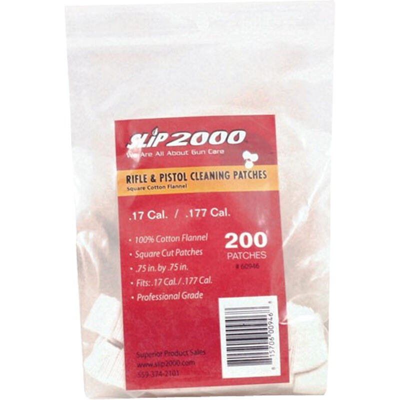 """Slip 2000 Rifle and Pistol Cleaning Patches .75"""" Square .17/.177 Cotton Flannel 200/Bag"""