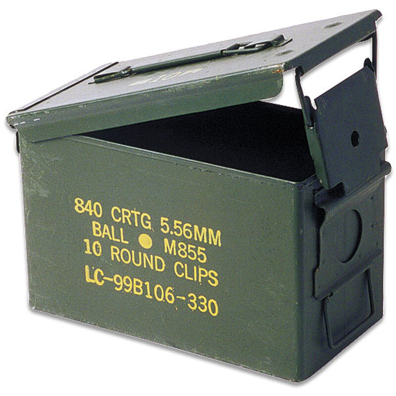 """Original Military Steel Ammo Can .50 Caliber  12 x 7.5 x 6"""" Lever-Lock Lid in Like New Condition"""
