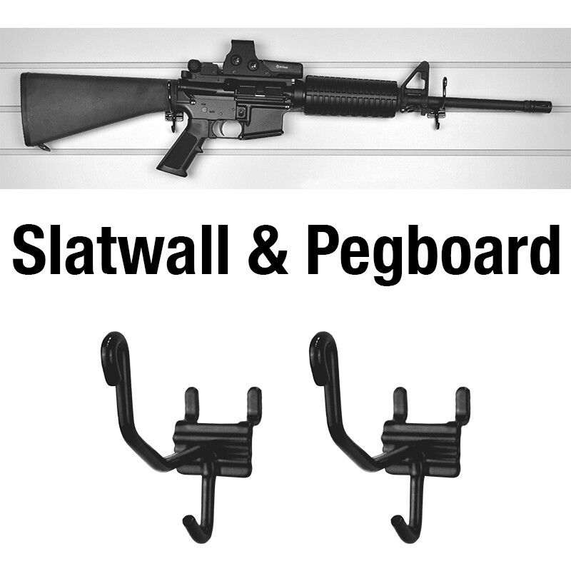 Gun Storage Solutions Horizontal Gun Cradles Slatwall/Pegboard 10 Pack Matte Black