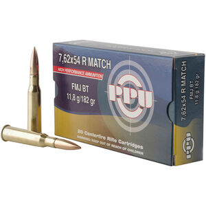Prvi Partizan PPU Match 7.62x54R Ammunition 20 Rounds 182 Grain FMJBT 2626fps