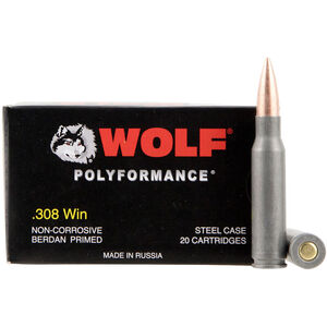 Wolf Polyformance .308 Win Ammunition 150 Grain Bi-Metal FMJ Steel Case 2625 fps 20 rounds
