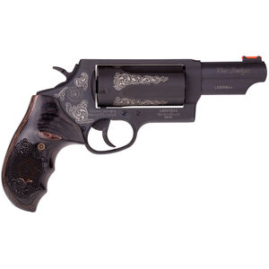"""Taurus Judge Magnum Engraved .45 Long Colt/.410 Bore Double Action Revolver 3"""" Chamber 3"""" Barrel 5 Round Fixed Rear and Fiber Optic Front Sights Black Wood Grip and Matte Taurus Blue Finish"""