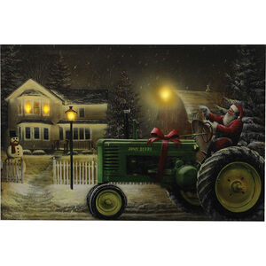 "Rivers Edge Products Santa on Tractor LED Art Canvas 24""x16""x1"""