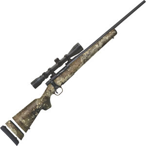 "Mossberg Patriot Youth Super Bantam Scoped Combo 7mm-08 Rem Bolt Action Rifle 20"" Fluted Barrel 5 Rounds 3-9x40mm Scope Strata Camo Synthetic Stock Matte Blue Finish"