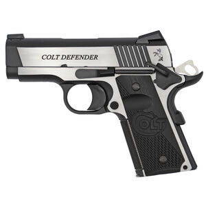"Colt 1911 Combat Elite Defender Model Semi Auto Pistol .45 ACP 3"" Barrel 8 Rounds Ambidextrous Safety Novak Night Sights G10 Grips Two Tone Finish"