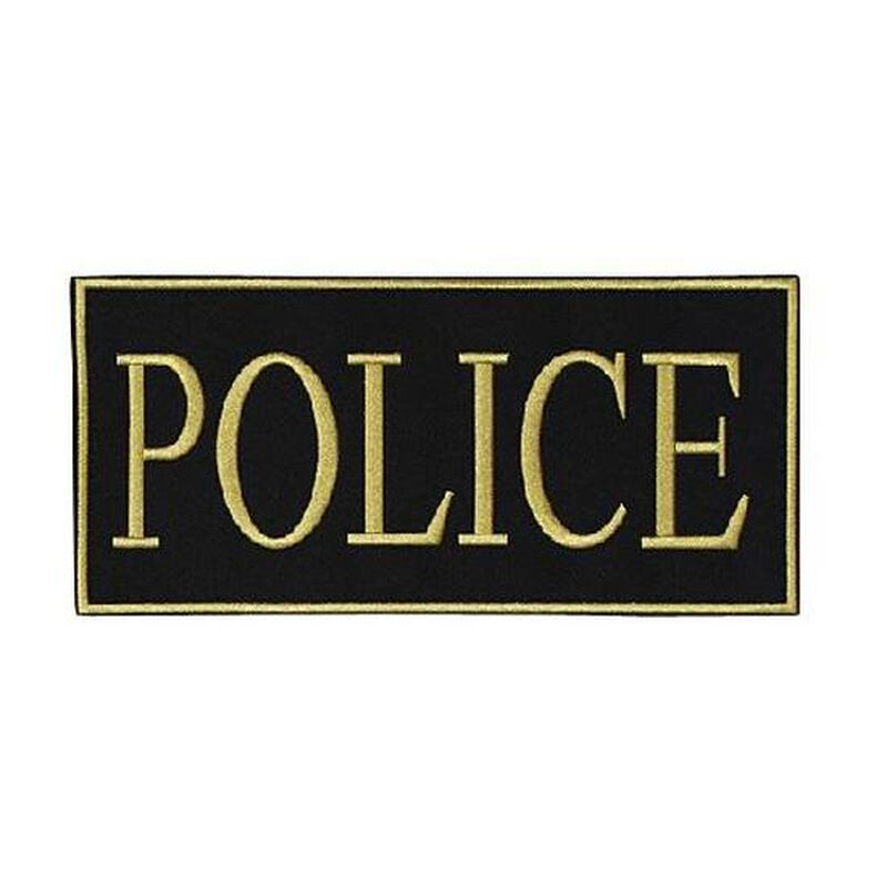 """Voodoo Tactical Law Enforcement POLICE Patch 2"""" x 4"""" Velcro/Sew-On Black With Yellow Text 772717348"""