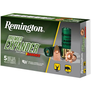 "Remington Premier Expander Sabot Slug 12 Gauge Ammunition 5 Rounds 3"" Copper Slug 437 Grains PRX12M"