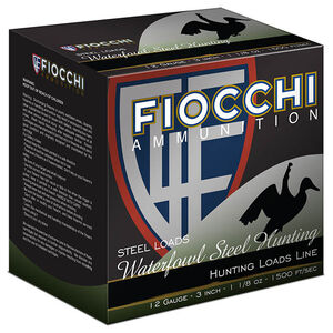 "Fiocchi Waterfowl Steel Hunting Speed Steel 12 Gauge Ammunition 25 Rounds 3"" BB Shot 1-1/8oz Steel 1500fps"