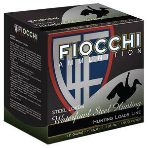 "Fiocchi Waterfowl Steel Hunting 12 Gauge Ammunition 250 Rounds 3"" #4 Shot 1-1/8oz Steel 1500fps"
