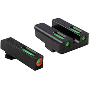 TRUGLO TFX Pro GLOCK 17/19/22/23/24/26/27/33/34/35/38/39 Front and Rear Set Green TFO Night Sights Orange Ring Steel Black TG13GL1PC