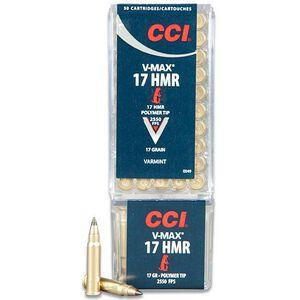 CCI Varmint .17 Hornady Magnum Rimfire Ammunition 50 Rounds 17 Grain Polymer Tip V-Max Projectile 2550fps