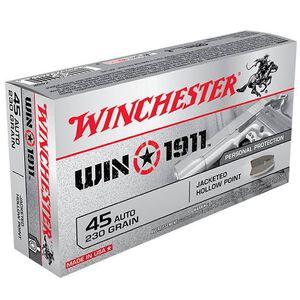 Winchester Win1911 .45 ACP Ammunition 230 Grain Nickel JHP 880 fps