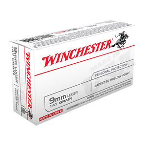 Winchester USA 9mm Luger Ammunition JHP 147 Grain