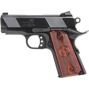 "Iver Johnson Thrasher 1911 9mm Luger Semi Auto Pistol 7 Rounds 3.12"" Bull Barrel Night Sights Wood Grips Blued Finish"