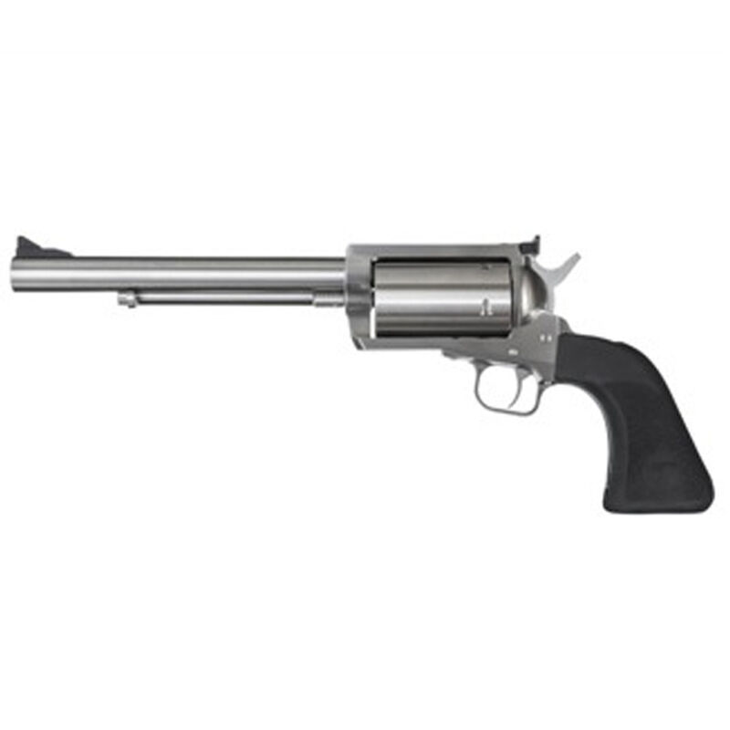 """Magnum Research BFR Single Action Revolver .45-70 Government 7.5"""" Barrel 5 Rounds Long Cylinder Model Fixed Front/Rear Adjustable Sight Black Rubber Grip Brushed Stainless Steel Finish"""