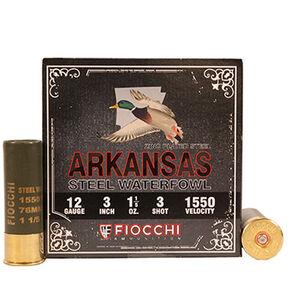 "Fiocchi Arkansas Steel Waterfowl 12 Gauge Ammunition 25 Rounds 3"" #3 Shot Size 1-1/5oz Steel Shot 1550fps"