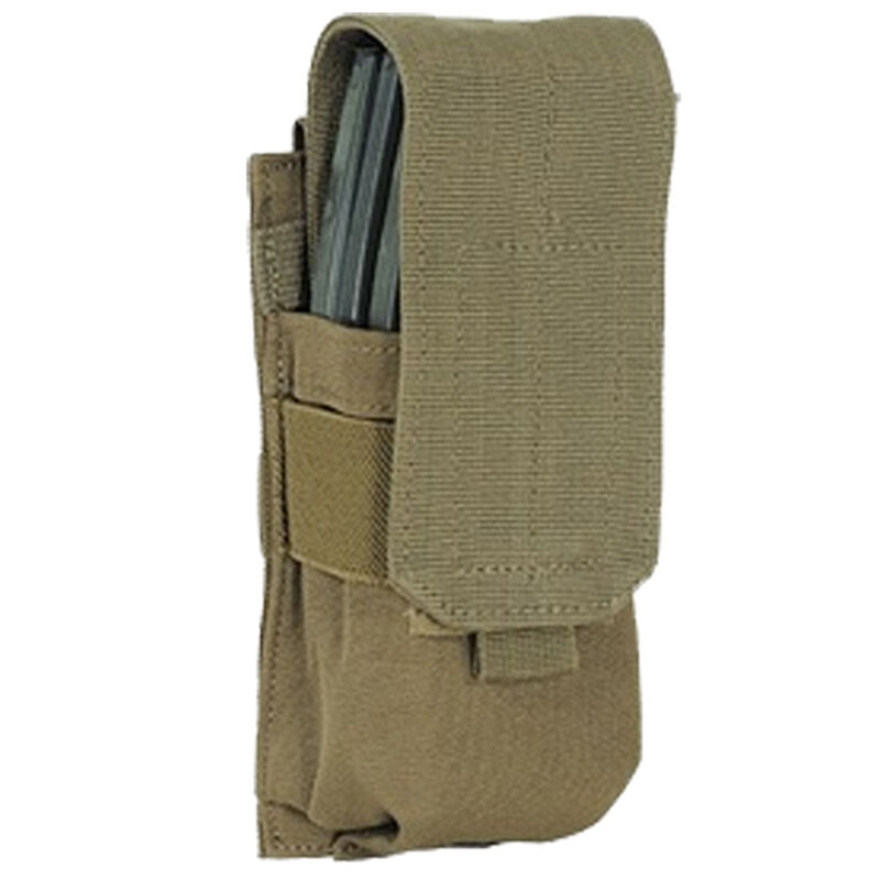 Voodoo Tactical AR-15/M4/M16 Single Magazine Pouch Hook/Loop Flap PALS Webbing Compatible Nylon Coyote Tan