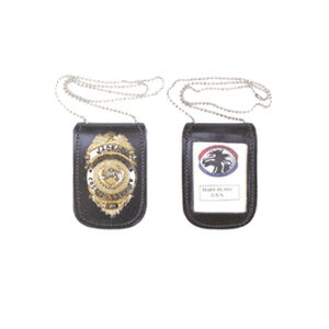 Stallion Leather Neck Chain Badge and ID Holder Black BHID