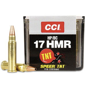 CCI TNT .17 HMR Ammunition HP 17 Grain 2,550 fps