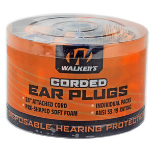Walkers Game Soft Foam Corded Ear Plugs -32dB Noise Reduction Rating 50 Pairs