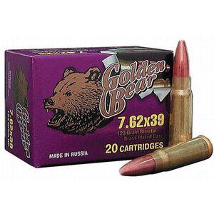 Ammo 7.62x39 Golden Bear 123 Grain Full Metal Jacket 2401 fps 500 Rounds AG762FMJ
